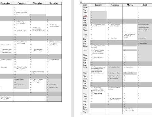 Ejemplo de calendario escolar en irlanda 2019-2020